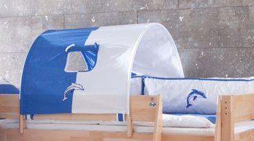 1-er Tunnel Spieltunnel für natur Hochbetten Weiß/Delfin