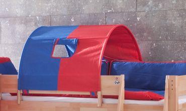 1-er Tunnel Spieltunnel für weiße Hochbetten Blau/Rot