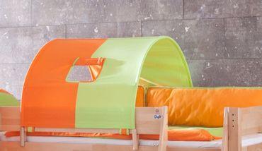 1-er Tunnel Spieltunnel für weiße Hochbetten Grün/Orange