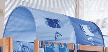2-er Tunnel Spieltunnel für natur Hochbetten Blau/Delfin