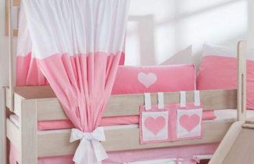 Seitenkissen Kissen Kinderkissen für Spielbett Hochbett Etagenbett Rosa/Weiß
