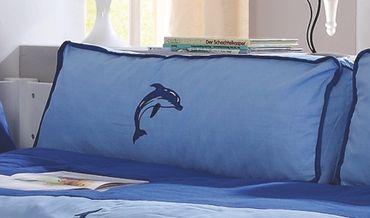 Seitenkissen Kissen Kinderkissen für Spielbett Hochbett Etagenbett Blau/Delfin