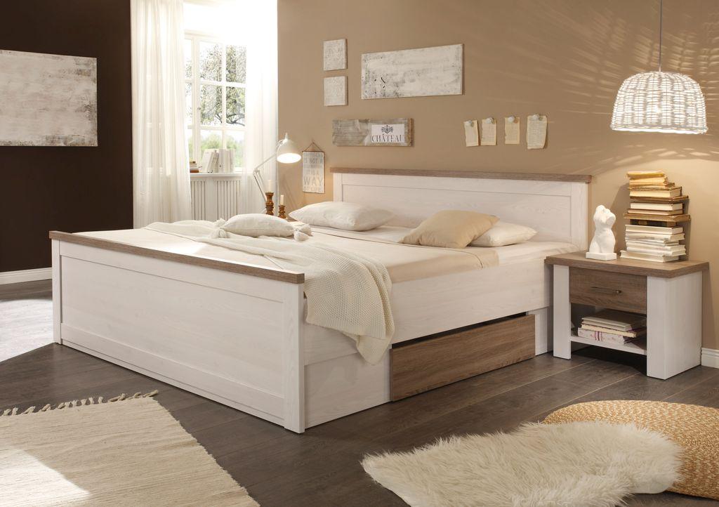 luca 1 schlafzimmer komplettset bett kleiderschrank set pinie wei tr ffel schlafen. Black Bedroom Furniture Sets. Home Design Ideas