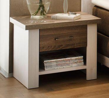 Luca 1 Schlafzimmer Komplettset Bett Kleiderschrank Set Pinie Weiß / Trüffel – Bild 6