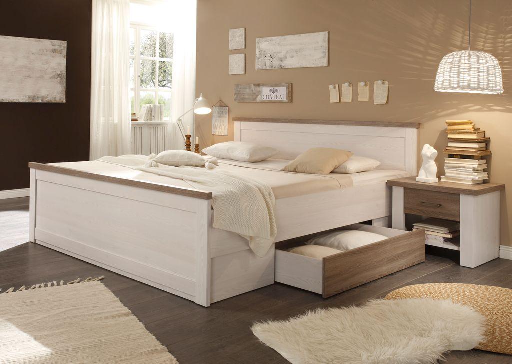 ... Luca 2 Schlafzimmer Komplettset Bett Kleiderschrank Set Pinie Weiß /  Trüffel ...