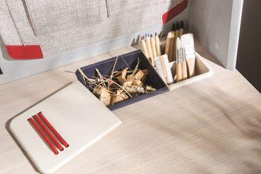 Cilek TRIO Schreibtisch Kinderschreibtisch Tisch Kindertisch Blau / White-Wash – Bild 6