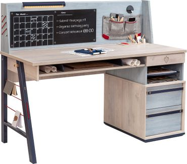Cilek TRIO Schreibtisch Kinderschreibtisch Tisch Kindertisch Blau / White-Wash – Bild 1