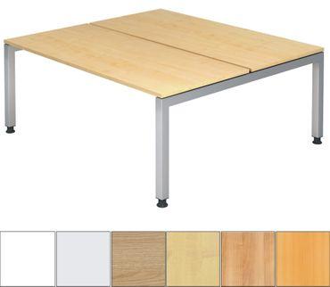 J-Serie Höhenverstellbarer Doppelarbeitsplatz 180 x 162 cm, verschiedene Farben – Bild 1
