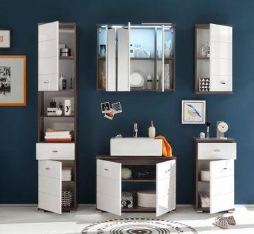 *SONDERPREIS* POOL Badezimmer Set Komplettset Badmöbel Badezimmermöbel Weiß/Ulme – Bild 2