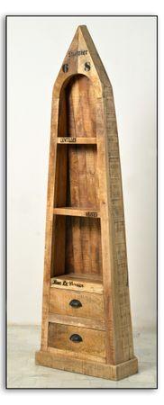 Bootsregal RUSTIC 17192 natur antik mit antikschwarzen Beschlägen – Bild 1