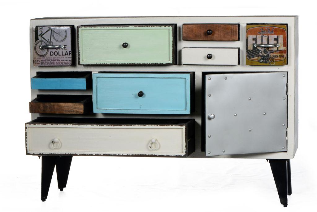 sideboard antwerp 17208 korpus wei fronten bunt sch ner. Black Bedroom Furniture Sets. Home Design Ideas