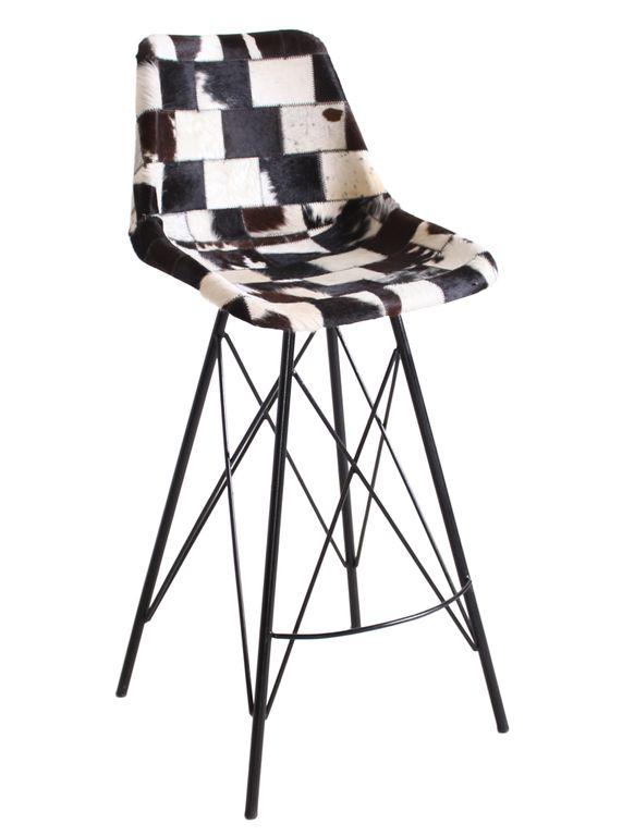 Barhocker sit chairs 17569 gestell schwarz bezug kuhfell for Barhocker kuhfell
