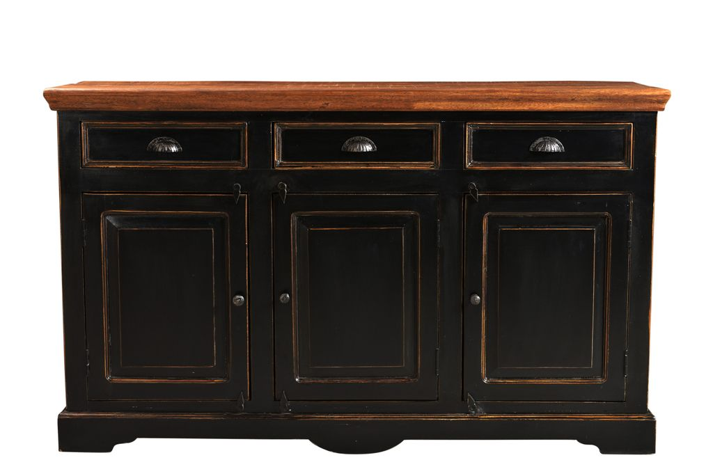 sideboard corsica 17726 schwarz mit honigfarbiger. Black Bedroom Furniture Sets. Home Design Ideas