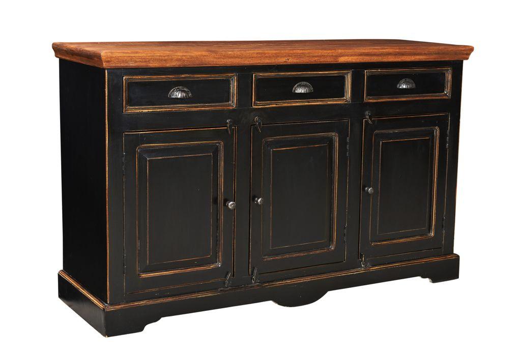 sideboard corsica 17726 schwarz mit honigfarbiger. Black Bedroom Furniture Sets. Home Design Ideas