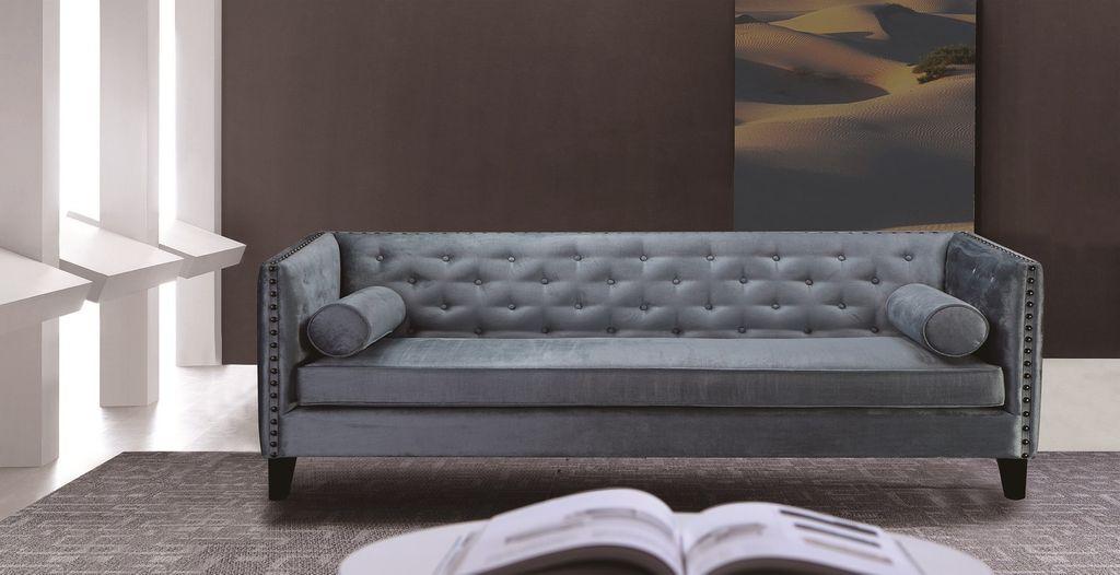17765 Sofa Bezug Grau Blau Beine Dunkelbraun