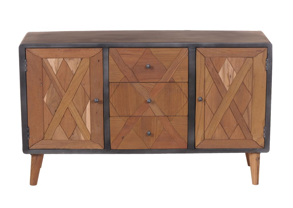 sideboard anrichte kommode cross 18196 holz natur lackiert metall antik grau 4055195111136 ebay. Black Bedroom Furniture Sets. Home Design Ideas