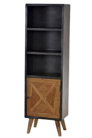 Bücherregal CROSS 18206 Holz natur lackiert, Metall antik-grau