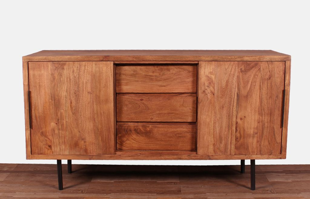 sideboard mid century 18235 antikfinish schwarze beine. Black Bedroom Furniture Sets. Home Design Ideas