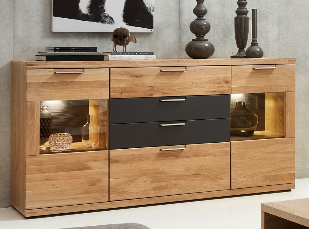 sideboard 18342 kommode anrichte eiche hell ebay. Black Bedroom Furniture Sets. Home Design Ideas