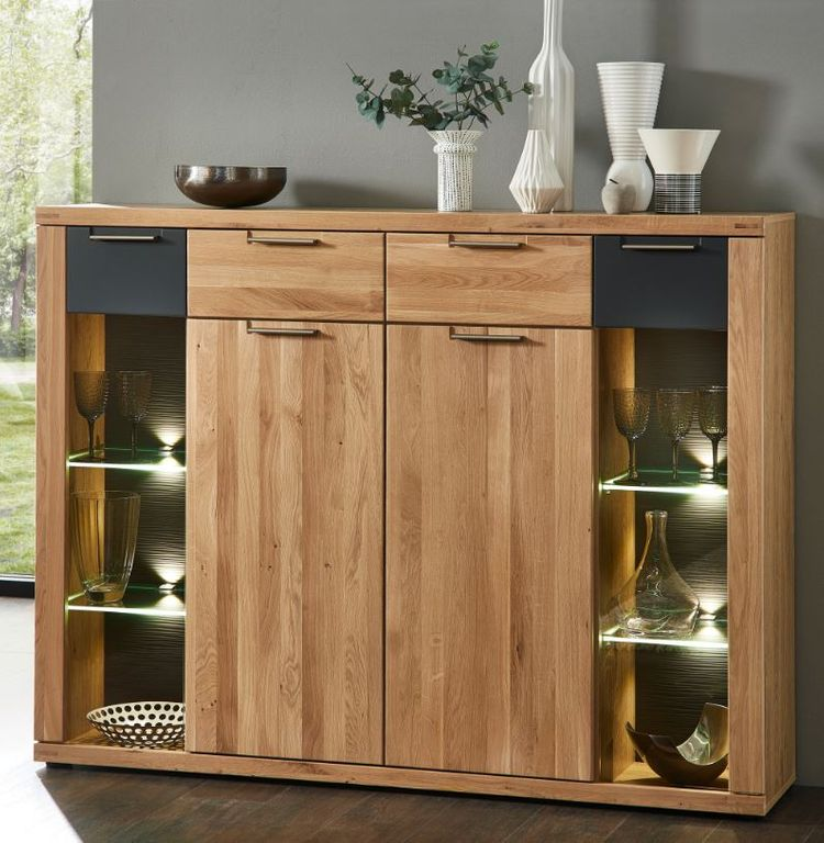 highboard 18343 sideboard anrichte kommode wohnzimmerschrank eiche hell ebay. Black Bedroom Furniture Sets. Home Design Ideas