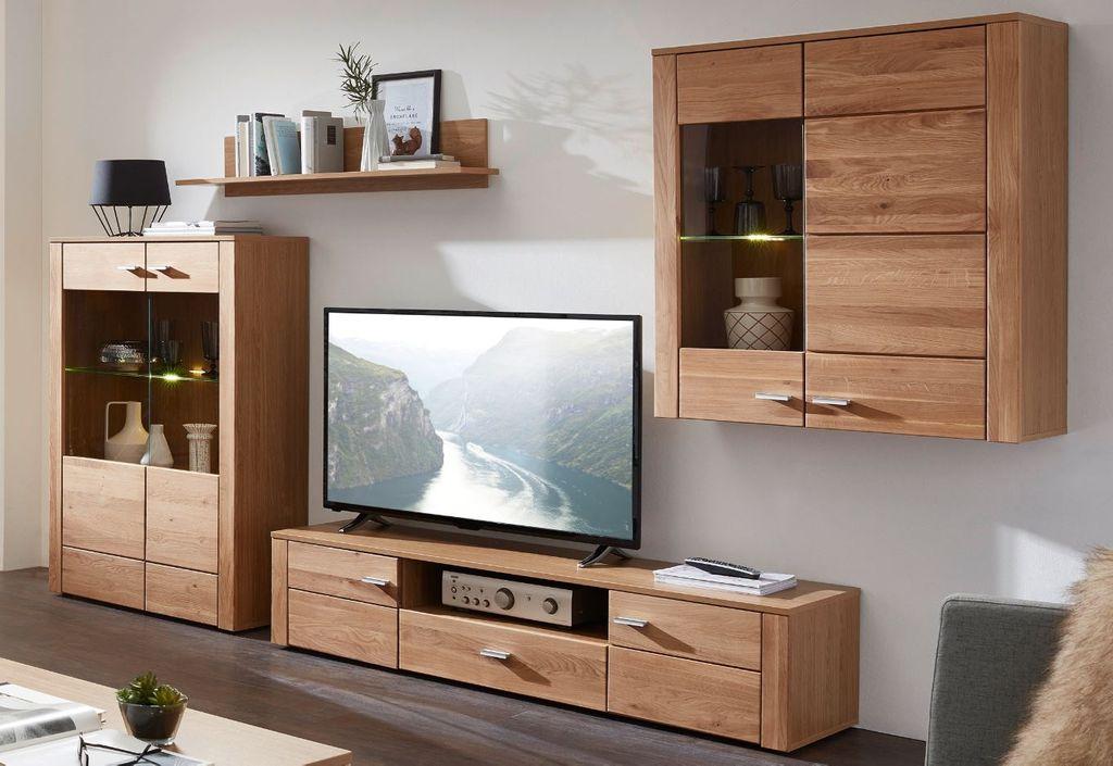 Wohnwand Aarau Wildeiche Bianco Günstig Möbel Küchen Büromöbel