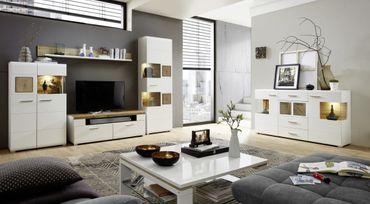 Wohnzimmer Komplettset FORSAND 2 Weiß / Eiche Altholz – Bild 1