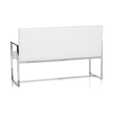 Sitzbank / Loungesofa 19452 Gestell Chrom Kunstleder 2,5-Sitzer Weiß – Bild 5