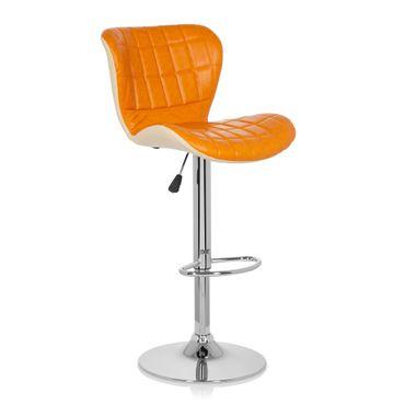 Barhocker / Tresenhocker 19593 Stoff (2er Pack / 2 Hocker) Orange – Bild 1