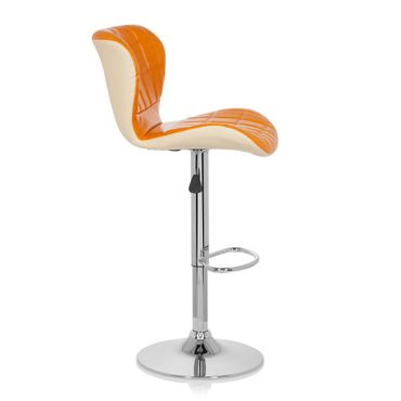Barhocker / Tresenhocker 19593 Stoff (2er Pack / 2 Hocker) Orange – Bild 2