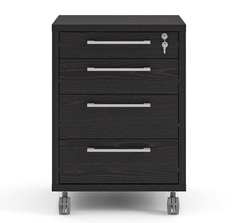 Prima Winkelkombination 230 x 200 cm inkl. Rollcontainer Esche Schwarz