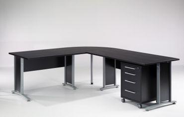 Prima Winkelkombination 230 x 200 cm inkl. Rollcontainer Esche Schwarz – Bild 1