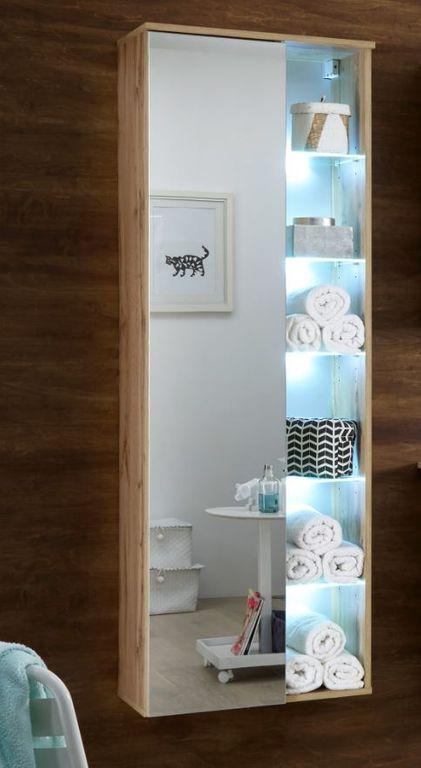 BEST Hängeschrank / Hochschrank inkl. LED-Beleuchtung Wildeiche