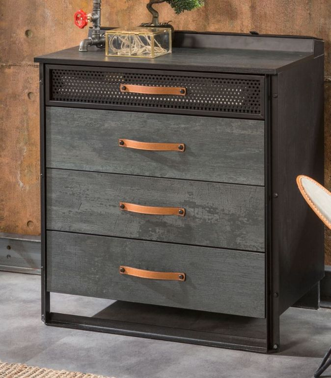cilek dark metal kommode sideboard anrichte kinderkommode grau schwarz ebay. Black Bedroom Furniture Sets. Home Design Ideas
