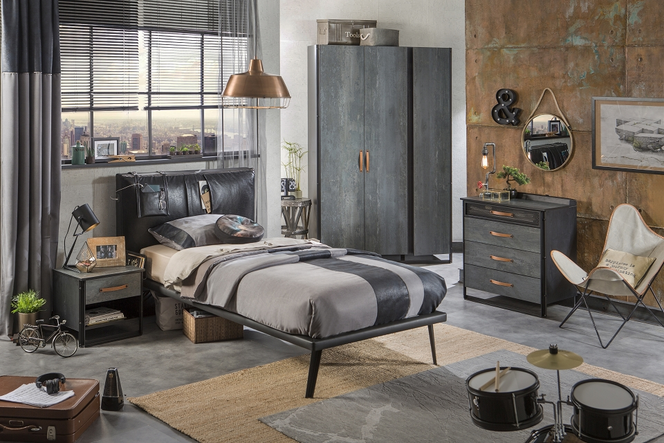 cilek dark metal kinderbett bett 100x200 cm jugendbett. Black Bedroom Furniture Sets. Home Design Ideas