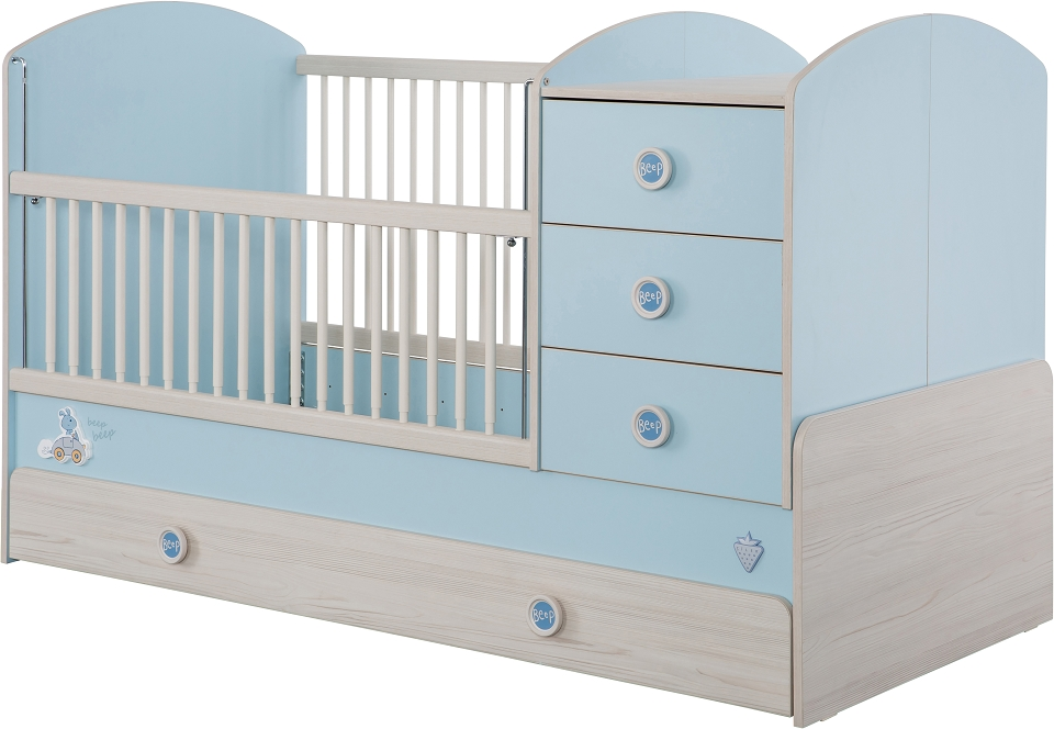cilek baby boy babybett xl mitwachsend inkl bettschublade kinderbett blau holz kids teens. Black Bedroom Furniture Sets. Home Design Ideas
