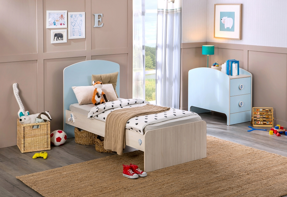 cilek baby boy babybett l mitwachsend kinderbett bett blau holz kids teens baby m bel babybetten. Black Bedroom Furniture Sets. Home Design Ideas