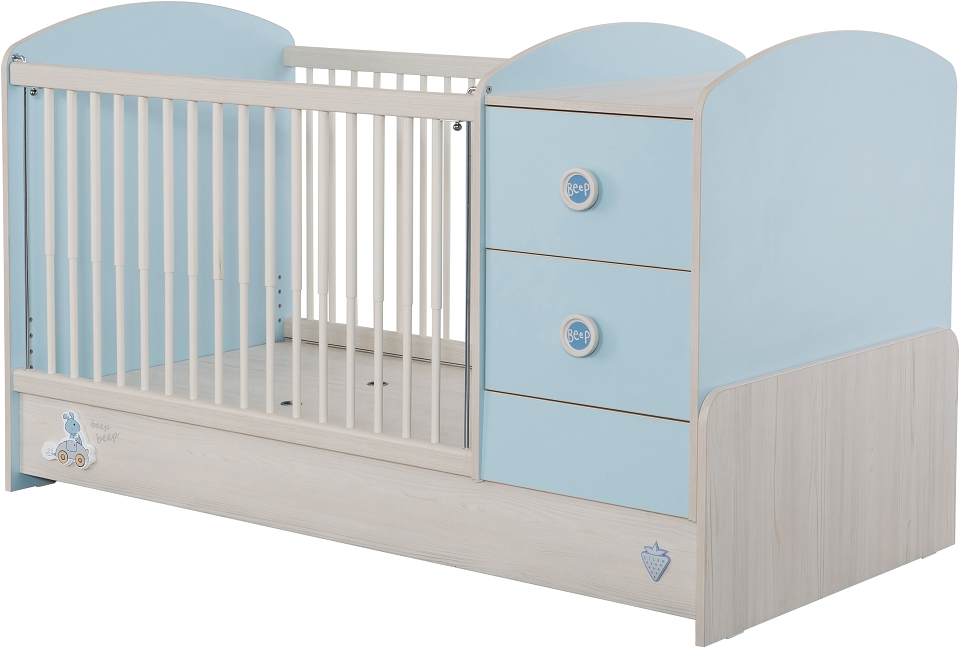 cilek baby boy babybett l mitwachsend kinderbett bett blau. Black Bedroom Furniture Sets. Home Design Ideas