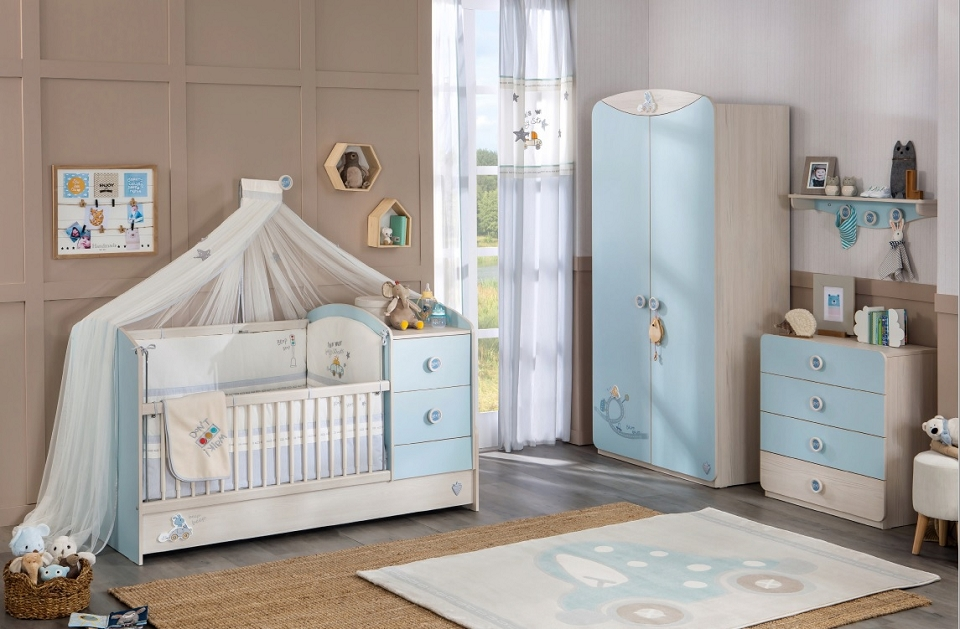 cilek baby boy vorhang gardinen 2er set wei grau kids teens textilware vorh nge gardinen. Black Bedroom Furniture Sets. Home Design Ideas