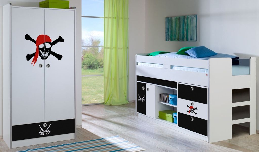 hochbett kleiderschrank bonny 20604 wei pirat kids. Black Bedroom Furniture Sets. Home Design Ideas