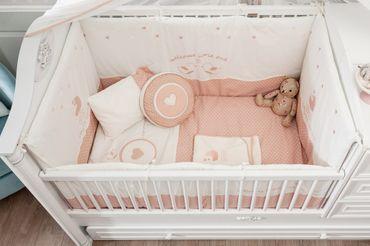 Cilek ROMANTIC BABY 7-tlg. Baby Set L Babydecke Kissen Gitterschutz – Bild 2