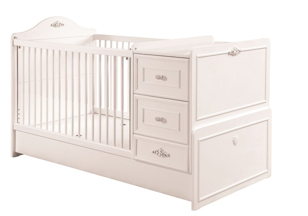 cilek romantic baby babybett l mitwachsend inkl zubeh r kinderbett wei kids teens baby m bel. Black Bedroom Furniture Sets. Home Design Ideas