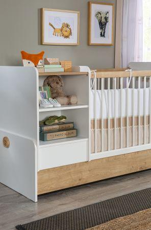 Cilek NATURA BABY Babybett L mitwachsend mit Zubehör Kinderbett  Weiß / Natur – Bild 9