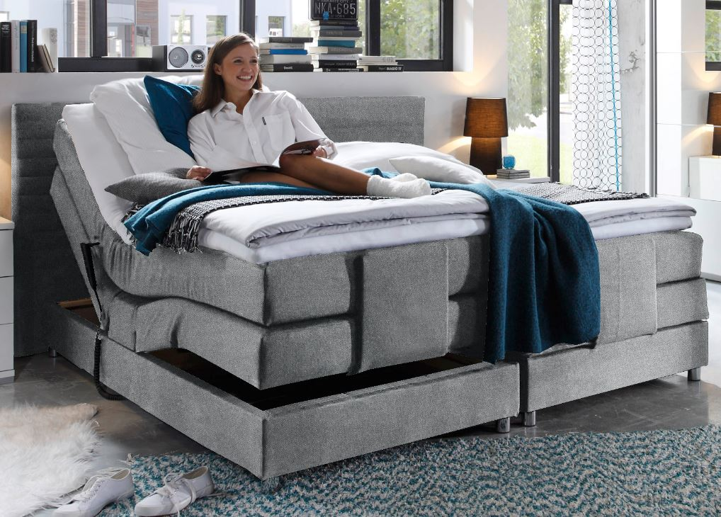 alabama elektrisches motor boxspringbett 180x200cm verstellbar bett grau ebay. Black Bedroom Furniture Sets. Home Design Ideas