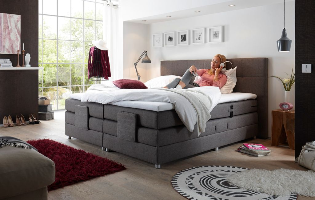 manolo elektrisches motor boxspringbett 180x200cm verstellbar ehebett bett stone ebay. Black Bedroom Furniture Sets. Home Design Ideas