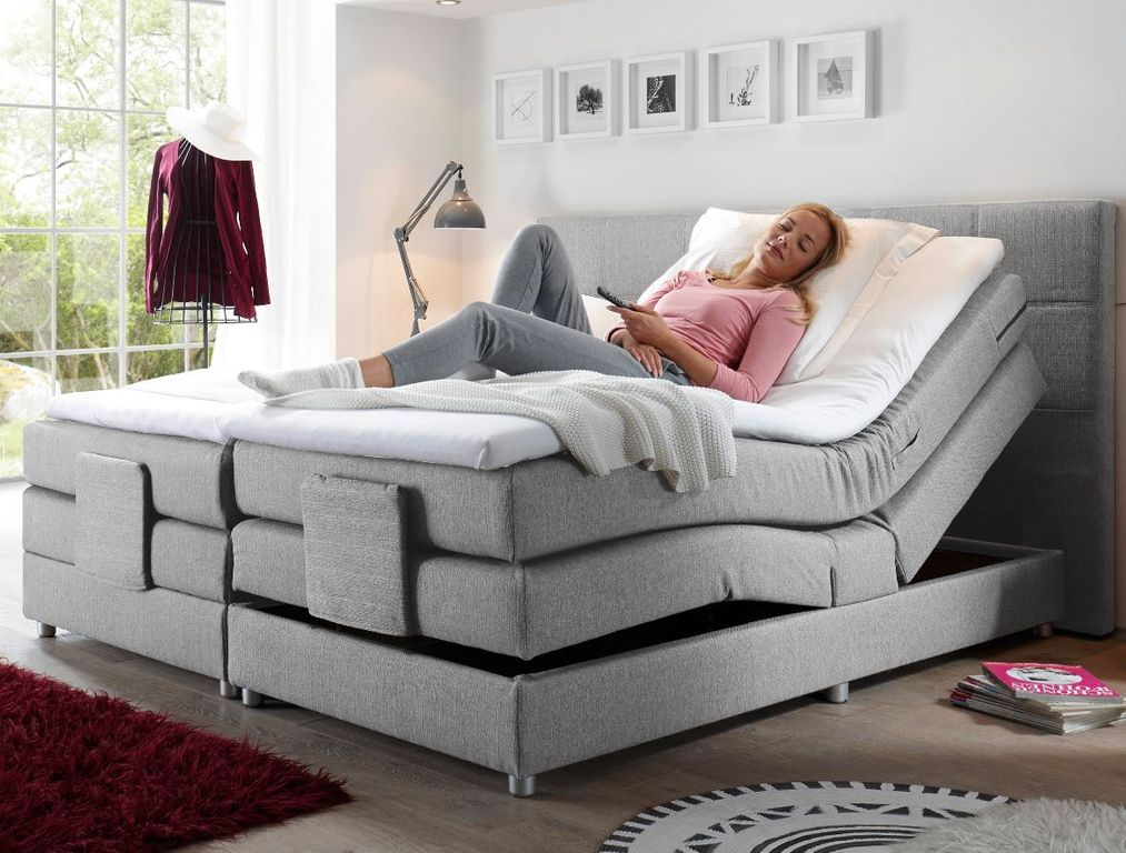 manolo elektrisches motor boxspringbett 180x200cm verstellbar ehebett bett silbe ebay. Black Bedroom Furniture Sets. Home Design Ideas