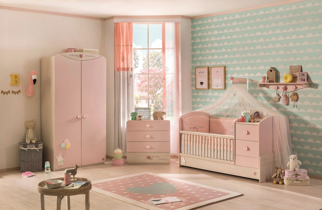cilek baby girl kleiderschrank babyzimmer rosa holz ebay. Black Bedroom Furniture Sets. Home Design Ideas