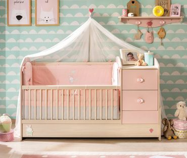 cilek baby girl babybett l mitwachsend kinderbett rosa kids teens baby m bel babybetten. Black Bedroom Furniture Sets. Home Design Ideas