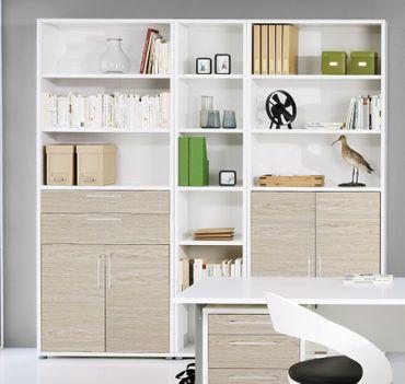 Prima Schrankwand 6 OH Weiß / Eiche Struktur – Bild 1