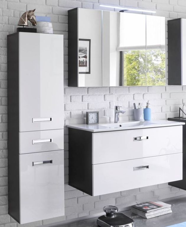 MANHATTAN Badezimmer Set 3-tlg. Grau / Weiß Hochglanz