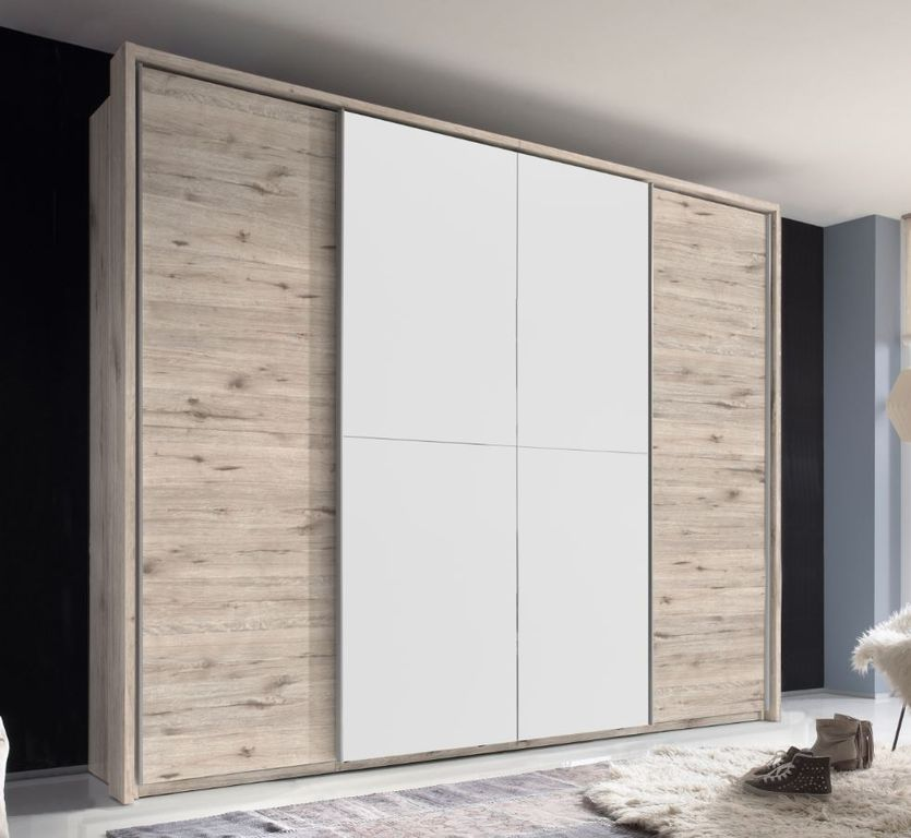 kleiderschrank cinema 270 cm schwebet renschrank 270 cm schrank sandeiche wei ebay. Black Bedroom Furniture Sets. Home Design Ideas